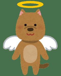 天使の輪と翼が付いた犬