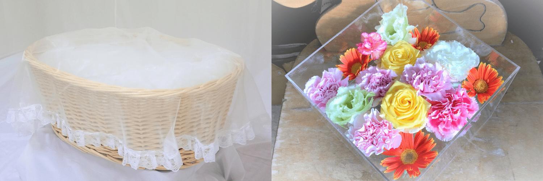 ペット火葬プランに含まれている棺と別れ花