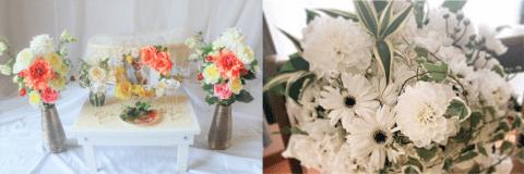 ペット用の祭壇と生花。