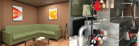 火葬施設の待合控室と車載式のペット火葬機械。